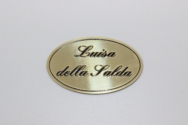 targa serigrafata in ottone